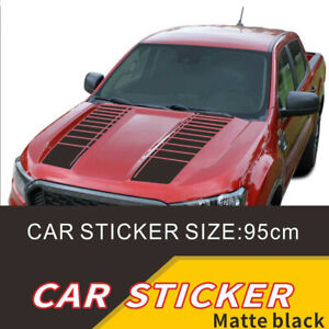 2Pcs 95cm Matte Black Racing Sports Stripe Graphics Car Hood Vinyl Decal Sticker