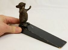 "Vintage Bronze Cute Mouse Doorstop ""Hands Up"""