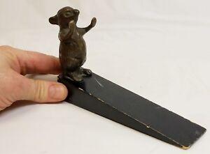 """Vintage Bronze Cute Mouse Doorstop """"Hands Up"""""""