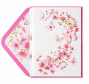 Gorgeous Papyrus Pink Glitter Butterflies Blank Card -All Occasions