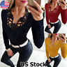 Sexy Womens Long Sleeve Bodycon Blouse Casual Slim Fit Ladies T Shirt Basic Tops