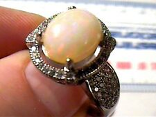 STERLING SILVER OPAL RING 8.75  WHITE GOLD, FANCY WHITE SAPPHIRE PRINCESS 925