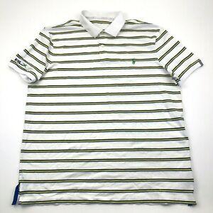 Ralph Lauren RLX Shirt Size Extra Large White Ringer Short Sleeve Green Pony Men