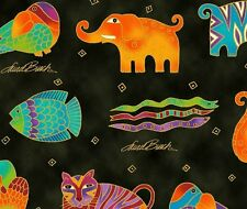 Mythical Jungle Animal Toile Y2137-3M Black w/Metallic by Laurel Burch BTY
