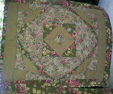 3 Standard Pillow Shams Floral Patchwork Khaki/Green Classic Home