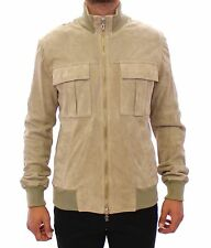 NEW $2300 GALLIANO Beige Suede Leather Jacket Italy Coat Giacca s 50 / US40 / L