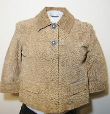 Live a Little Leather Leopard Print Jacket Womens M 5959 3/4 Sleeve