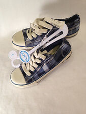 New The Children's Place Girls Youth sz 1 Sneakers Shoes Plaid White Blue Shoes