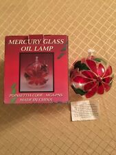 Mercury Glass Oil Lamp Poinsettia has Stained Glass Look w/ 1 wicks
