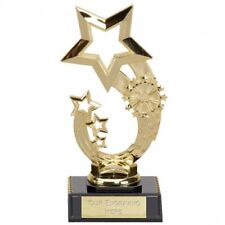 Curve Star Gold Trophy Cup in Sizes with Engraving up to 30 Letters FT35