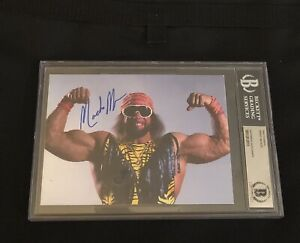 """RANDY """"MACHO MAN"""" SAVAGE SIGNED AUTOGRAPHED 5X7 PHOTO WCW BECKETT BAS AUTHENTIC"""