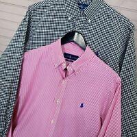 Polo Ralph Lauren Custom Fit L/S Button Shirts Lot of 2 Gingham/Stripe Men's M