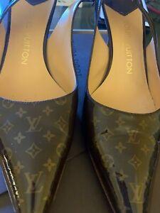 Louis Vuitton Classic Brown Ladies Shoes High Heels Pumps Tan Strap us 8 1/2