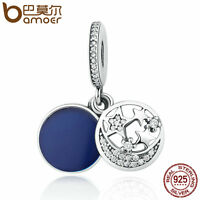 Bamoer y Authentic S925 Sterling Silver Charm star Pendant with cz fir Bracelet