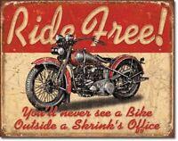 Retro Metal Sign Motorcycle Riding Distressed Garage Shop Decor Biker Gift