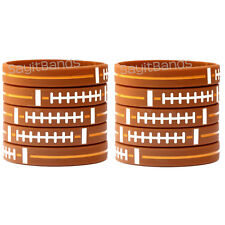 10 Football Theme Wristbands. Quality Debossed Color Filled Wrist Band Bracelets