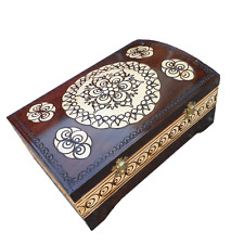 WOODEN LARGE JEWELLERY CHEST, PAINTED IN BROWN COLOUR