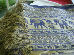 SILK ELEPHANT DESIGN TABLECLOTH COVERLET THROW VIBRANT METALLIC GOLD ROYAL BLUE