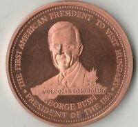 Medaille 37 Gramm Jahr 1989 American President George Bush to Hungary Budapest
