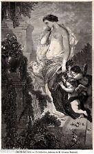 LA SEDUZIONE: Giovane Donna Accompagnata da Cupido-Amore. Stampa Allegorica.1859