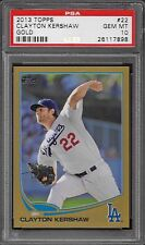 2013 Topps GOLD # 22 Clayton Kershaw Gem Mint PSA 10 Dodgers POP 1