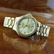 Vintage Mens Geneve Swiss 9040 14K Gold Plated Watch 330' WR 38MM