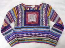Express Tricot Rainbow Crochet Granny Square Knit Boxy Crop Festival Sweater M