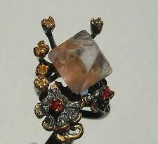 CeS Ring Pyramide Quarz / Bergkristall, Songea Saphir, Crimson Granat
