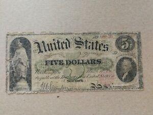 1862 LEGAL TENDER - $5 Dollars American Bank Note
