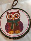 Vtg Owl Ceramic Trivet/Hot Pad/Wall Decor. Braided Rope to Hang. Cork Backing.