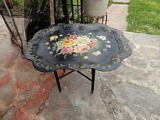 Vtg Black Floral Toleware Folding Metal Tray Table Coffee ART GIFT 25x19x19