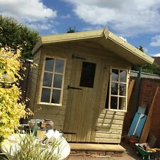 12x8ft Summerhouse New Wooden Apex Shed Georgian Style Full T+G Roof Timber 19mm