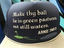 NOS Vtg GOLF BALL Pastures Waters ARNIE Par:3 Novelty Trucker Mesh Snapback Hat