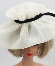 Vintage Barbie After Five #934 White Sheer Custom Hat Black Velvet Ribbon Mint