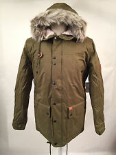 Globe Men's Puffy Parka Hooded Jacket Hobson Olive Size L NWT Faux Fur Sherpa