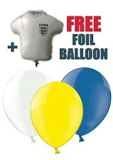 """World Cup Uruguay Colours 12"""" Asst Latex Balloons pack of 8 + free foil balloon"""