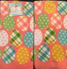 Set Of 2 Plush Easter Egg Polka Dot Pink Kitchen Dish Hand Tea Towel Home