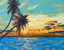Tropical Sunset Original Oil Painting 11X14 Ocean Beach Seascape Juliette Caron