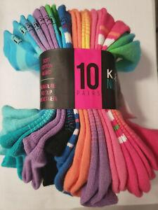 10 Pair KIDS K. Bell Low Cut No Show socks Fits Shoe Size 4-10 Multicolor