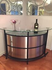 custom modern glass and chrome corner bar