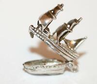 Opening Galleon Sailing Ship Sterling Silver Vintage Bracelet Charm 3.2g