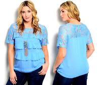 IRE Women's Tiered Top Blue Lace-Yoke Scoop Neck Short-Lace-Sleeve Size 2XL