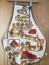 New listing Vintage Apron Fisba Stoffels Switzerland Cows Chickens Homes Cotton PreOwned