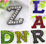 Rhinestone Letter Patches Iron On Sew on Alphabet Patch Embroidered Sparkle A-Z