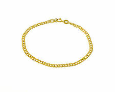 "14K Solid Yellow Gold Flat Curb Bracelet 2.6mm 7"" 1.9gr Italian made"