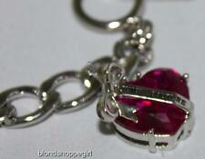 NWT JUICY COUTURE SILVER STARTER Toggle BRACELET PINK CRYSTAL HEART Charm in Box