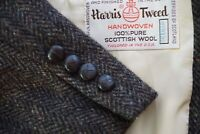 Harris Tweed Brown Herringbone Wooden Button Sport Coat Jacket Sz 40R