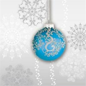 Jingle Bells Blue Bulb Beverage Napkins 18 Pack Christmas Winter Decoration