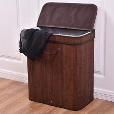 Large Rect Bamboo Hamper Laundry Basket Washing Cloth Storage Bin Bag Lid Brown