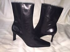 ENZO ANGIOLINI SZ 7 M BLACK LEATHER HIGH HEELS ANKLE BOOTS